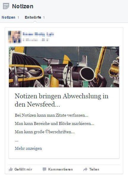 Facebook Notizen, die vergessene Funktion