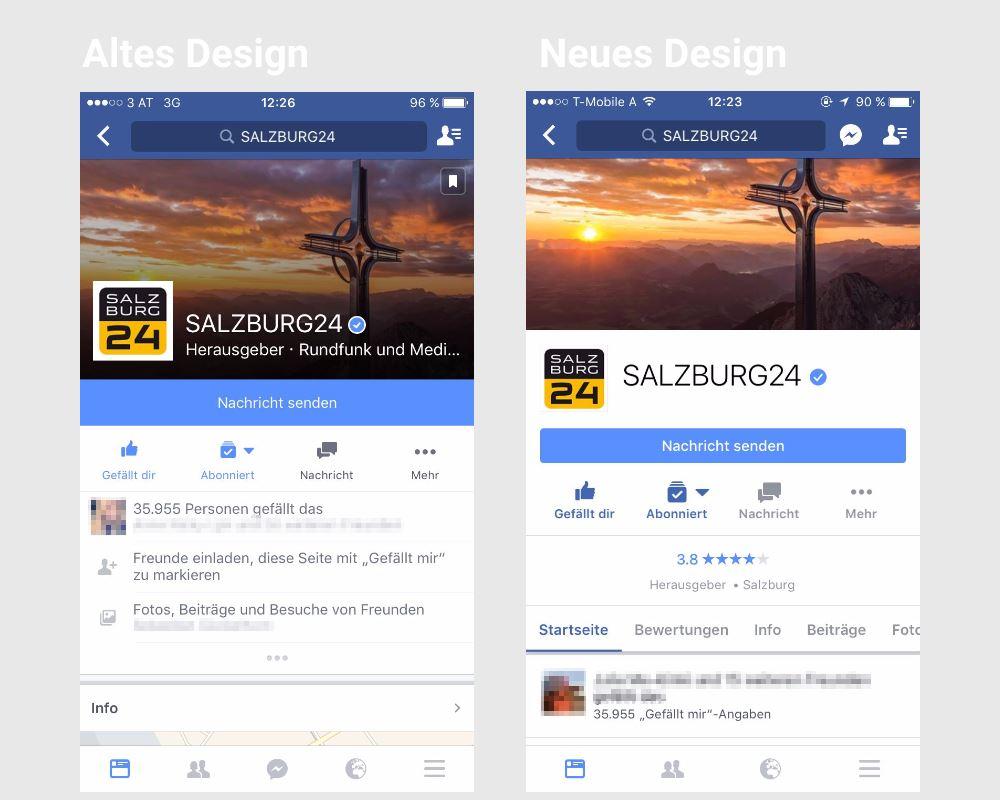 Neugestaltung der mobilen Facebook Page